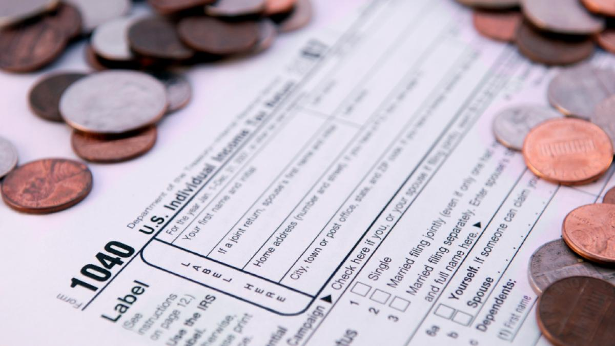 tax form and coins